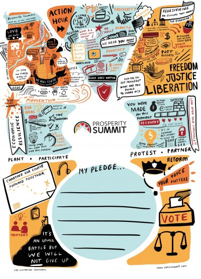 prosperity now summit illustration Katie Chappell virtual conference scribe live graphic recording